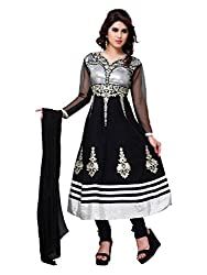 Diva Fusion Womens Cotton Anarkali Dress Material (Dfa123 _Black _Free Size)
