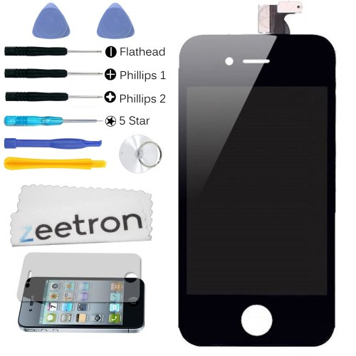 Zeetron Iphone 4 Gsm Replacement Digitizer Glass Screen Assembly Kit (With Zeetron Microfiber Cloth, And 6P Tool Kit)