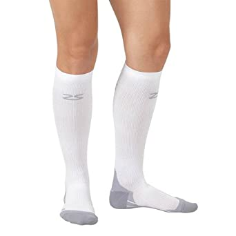 Zensah Unisex Adult Compression Socks, White, Medium