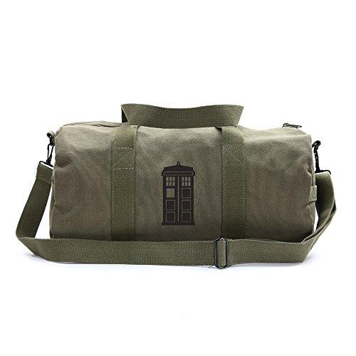 Doctor Who Tardis Sport Heavyweight Canvas Duffel Bag in Olive & Black, Medium