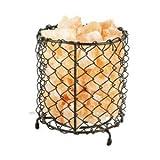 Lampe en cristal de sel et panier à maillage nid de poules en fer forgé...