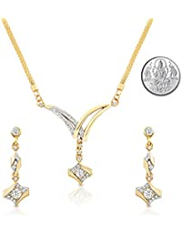 Oviya Gold Plated Dazzling Arc Pendant Set With Crystal Stones For Women With Free Silver Laxmi Coin NL2103087GCI