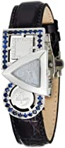 Swisstek SK21906L Limited Edition Swiss Diamond Watch With Blue Sapphires, Interchangeable Leather Strap And Sapphire Crystal