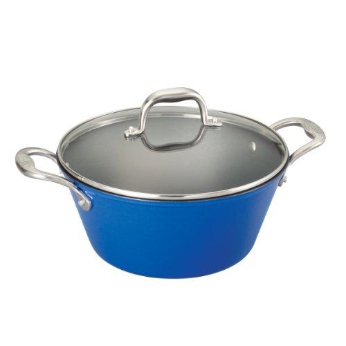 Guy Fieri 5099869 Light Weight Cast Iron Dutch Oven, 5-1/2-Quart, Blue front-383519
