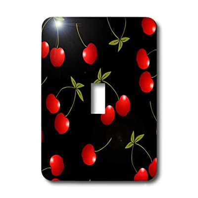 3dRose lsp_24730_1 Cherry Print Juicy Red Cherries On Black Single Toggle Switch