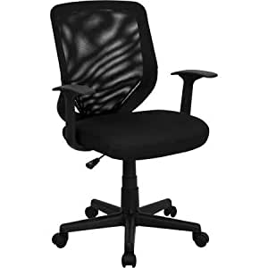 Black Flash Furniture Adjustable Home Office Mid Back Desk Chair