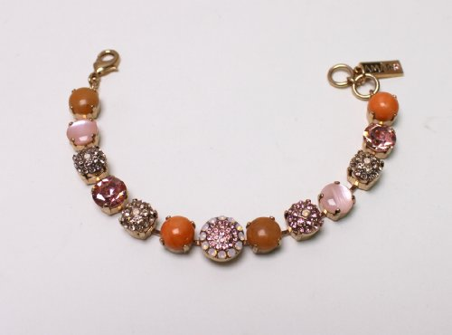 Gorgeous Bracelet from 'Love and Tenderness' 2013 Collection by Amaro Jewelry Studio Set with Rose Quartz, Pink Aventurine, Pink Mussel, Coral Salmon and Swarovski Crystals; 24K Rose Gold Plated