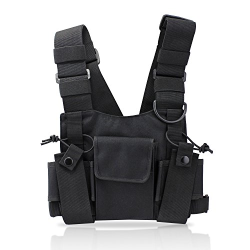 abcGoodefg Radio Chest Harness Chest Front Pack Pouch Holster Vest Rig for Two Way Radio Walkie Talkie(Rescue Essentials) (Black) (Walkie Talkie Harness compare prices)