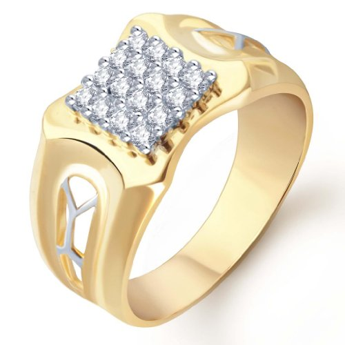 Sukkhi Gold and Rhodium Plated CZ Ring for Men(104GRK680) (yellow)