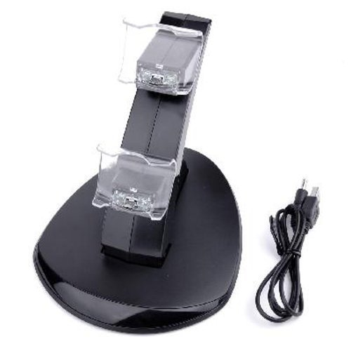 LED Dual USB Charging Charger Dock Station Stand for Sony Playstation 4 Ps4 Controller portable dual charger station set for microsoft xbox one controller black