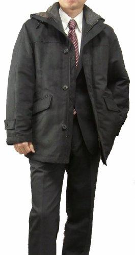 ハーフコート ビジネスコート メンズ 中綿 メンズ 男性 黒 茶413651軽くて暖かい!
