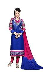 Krishna Fashion Women's Cotton Unstitched Dress Material (hari1108_Blue_Free Size)