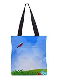 Snoogg An Airplane In The Sky Vecto Designer Poly Canvas Tote Bag