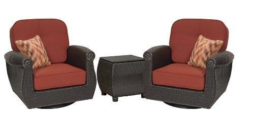 Breckenridge 3 Piece Patio Furniture Set: 2 Swivel Rockers (Red Brick) and Side Table by La-Z-Boy Outdoor