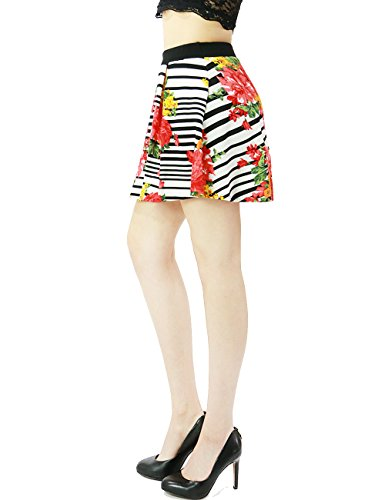 Fandsway Womens Spring Floral Striped Flare Pleated Skirt Above Knee Length (LARGE, BLACK/WHITE)