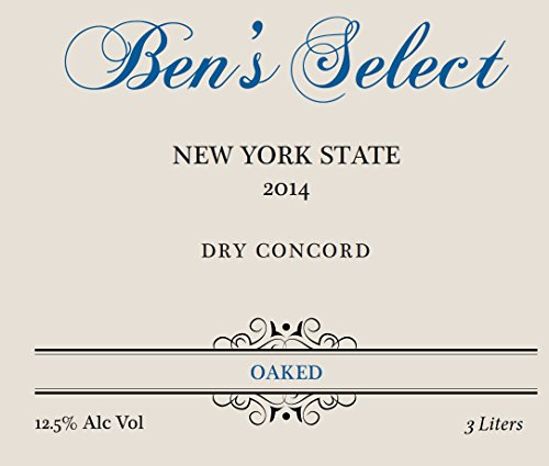"2014 Ben Ish Winery ""Ben'S Select"" Finger Lakes New York State Dry Concord Wine With Personalized Label 3 L"