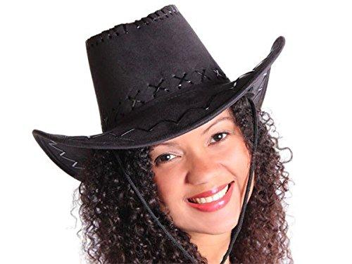 Cappello da cowboy stile western texas australiano nero (C-06) unisex in camoscio rifinitura pelle accessorio carnevale travestimento festa tempo libero cavaliere