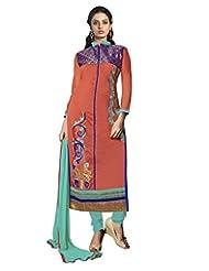 Prafful Peach Chanderi Cotton Embroidered Unstitched Dress Material