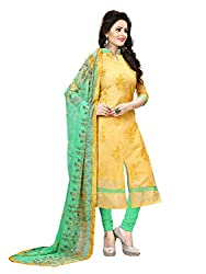 Subhash Sarees Daily Wear Yellow Color Chanderi Salwar Suit Dress Material