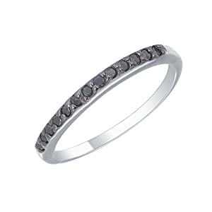 Sterling Silver Black Diamond Wedding Band (1/4 CT) In Size 8