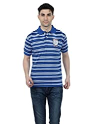 Aliep Royal Blue Cotton Striped Regular Fit Polo T-shirt For Men