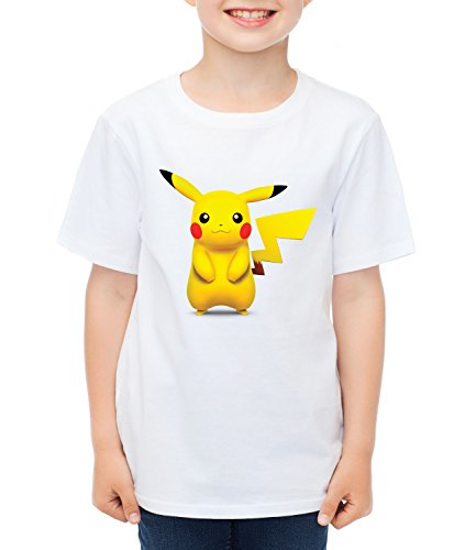 Pikachu pokemon Kids Boys CLASSIC-T Crew neck T-Shirt Bianco Small