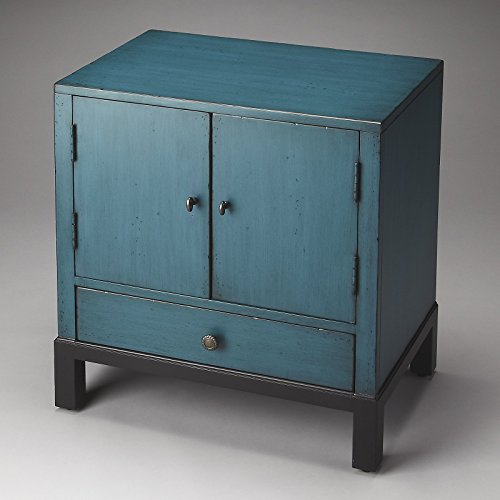 Courtland Side Cabinet with 2 Cupboard Doors, 1 Dovetail Drawer - Distressed Blue Distressed White 2 Door Cabinet