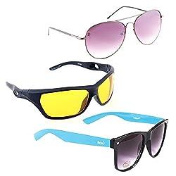 Elligator Stylish Aviator Spartiate Purple And Nightvision Yellow With Blue Wayfarer Sunglasses Combo ( Set of 3 )