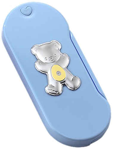 Silver Touch USA Baby Toddler Flatware Utensil Set with Sterling Silver Bear, Blue