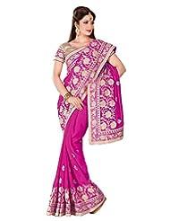 Dark Pink Georgette Thread Worked Saree In Gold Shimmer Saree Border-SR6699