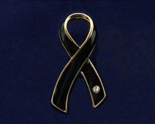 Black Ribbon Pin- Large Ribbon with Crystal (36 Pins)