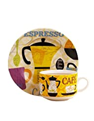 Hand-Drawn English Elegant Style Coffee Cup Tea Cup With Dish,Yellow