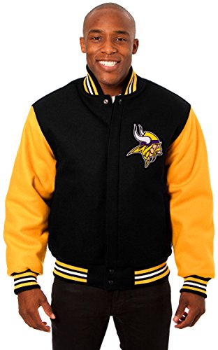 Minnesota Vikings Men's Wool Jacket with Embroidered Applique Team Logos