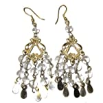 Quartz Earrings 06 Chandelier Goddess Clear Orb Clay Silver Crystal 3