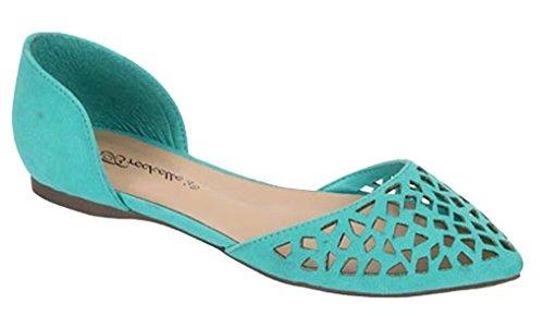 Breckelles Women's Aqua Faux Suede Pointed Toe D'orsay Flats 10 B(M) US