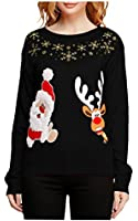 v28 Women Girl Christmas Cute Santa Embroidered Knitted Deer Pullover Sweater Jumper