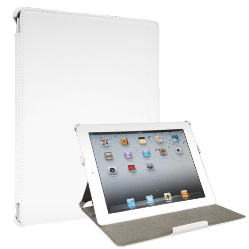 Toblino 2: White Leather iPad 2 Case (Folio Convertable Case Multi-angle Stand for Apple iPad2 or iPad2 3G)