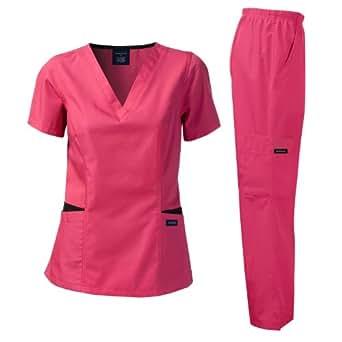 Medical Uniform Missy Fit Women's Scrub Set Contrast Pocket _Cherry_XXL