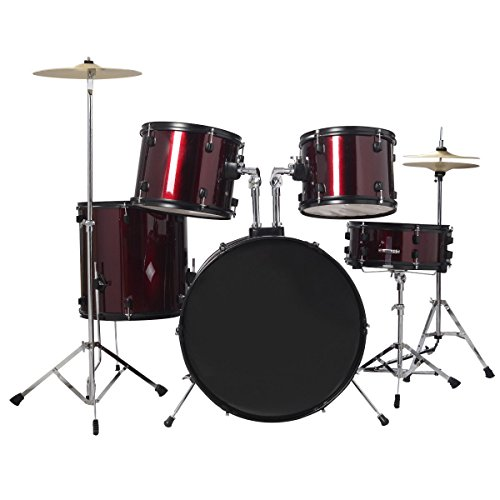 drum-set-5-pcs-complete-adult-cymbals-full-size-drum-kit-with-stool-wine