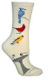 Songbirds Natural Novelty Adult Socks by Wheel House Designs USA Made