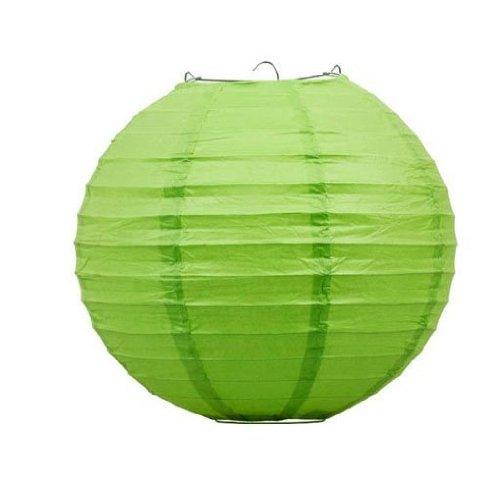 "Liroyal 16"" Green Round Paper Lantern - (10 Pack)"