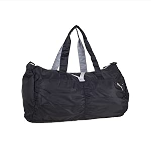 Puma Women's Shine Barrel Duffel Gym Bag w/ Yoga Mat Strap (Black/Grey)