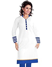Surat Tex White & Blue Color Cotton Printed Semi-Stitched Kurti-H495KIC2051CN