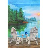 Lake View Summer Garden Flag Adirondack Outdoors Sunset Reflection 12