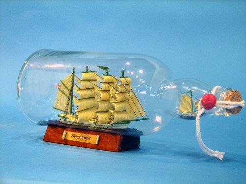 Green Flying Cloud Ship in a Bottle 11