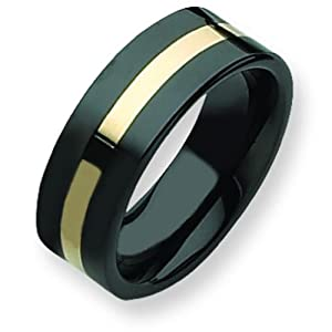 Ceramic Black 14K Gold Inlay 8mm Mens Ring Size 9.5