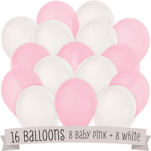 16 Pack of Latex Balloons (8 Baby Pink & 8 White)