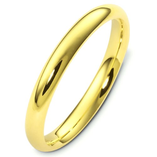 18K Yellow Gold, Comfort Fit Wedding Band 3MM (sz 14)