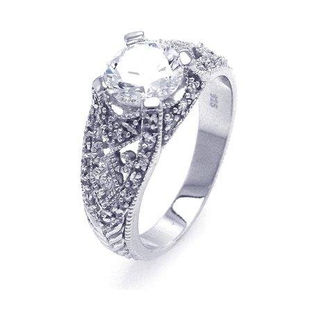 Sterling Silver Engagement Ring / Fancy Ring, Designed with Diamond Color Round Shaped Center Stone, Comfort Fit, Perfect for Everyday Wear, Includes Gift Box and Pouch (6)