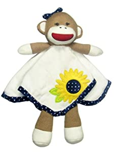 Baby Girl Sun Flower and Dot Sock Monkey Security Blanket by Baby Starters